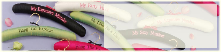 Product image - Personalised Padded Silk Hangers Embroidered with Sayings